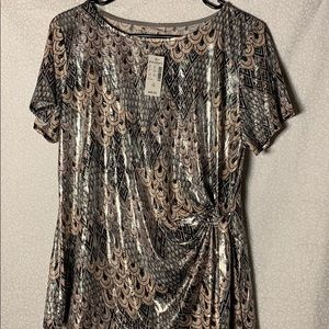 Dress Barn Tops - Black, Pink and Silver Sparkle Top